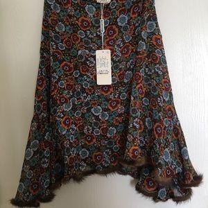 Dresses & Skirts - Marisa floral skirt with mink trim